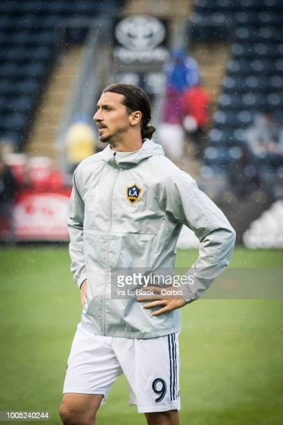 Zlatan Ibrahimovic of LA Galaxy warms up before the Major League Soccer match between LA Galaxy and Philadelphia Union at Talen Energy Stadium on...
