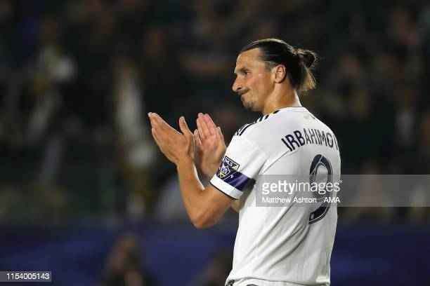 Zlatan Ibrahimovic of LA Galaxy wearing a shirt in the second half with his name spelt incorrectly during the MLS match between Los Angeles Galaxy...
