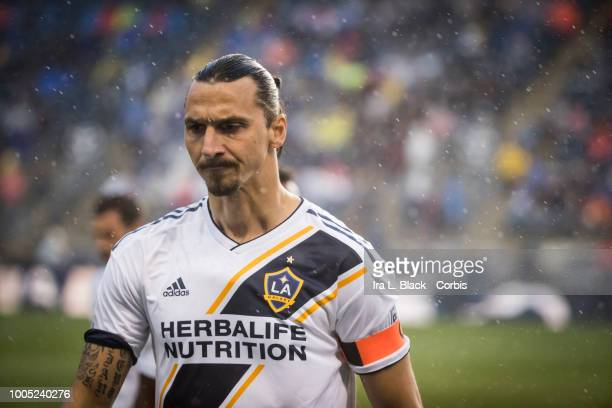 Zlatan Ibrahimovic of LA Galaxy wears the captain armband during the Major League Soccer match between LA Galaxy and Philadelphia Union at Talen...