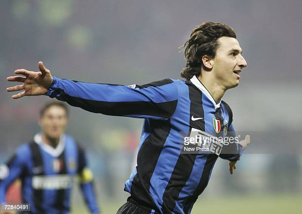 Zlatan Ibrahimovic of Inter celebrates his goal during the Serie A match between Inter Milan and Messina at the Giuseppe Meazza Stadium on December...
