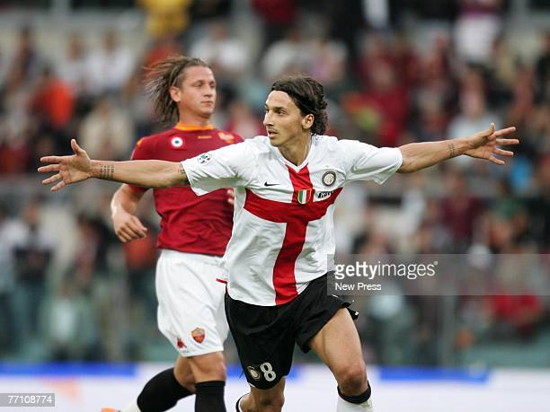 Zlatan Ibrahimovic of Inter Milan celebrates a goal during the Serie A match between Roma and Inter Milan at the Stadio Olympico on September 29 2007...