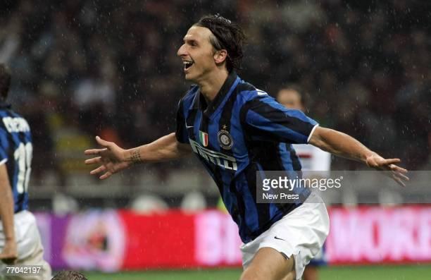 Zlatan Ibrahimovic of Inter Milan celebrates after scoring during the Serie A match between Inter Milan and Sampdoria at the San Siro Stadium on...