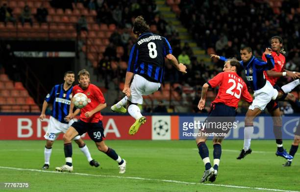 Zlatan Ibrahimovic of Inter scores their first goal during the UEFA Champions League group match between Inter Milan and CSKA Moscow at the San Siro...