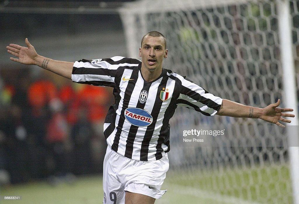 Zlatan Ibrahimovic of Juventus celebrates scoring during the Serie A match between Inter Milan and Juventus at the Giuseppe Meazza San Siro Stadium on February 12, 2006 in Milan, Italy.