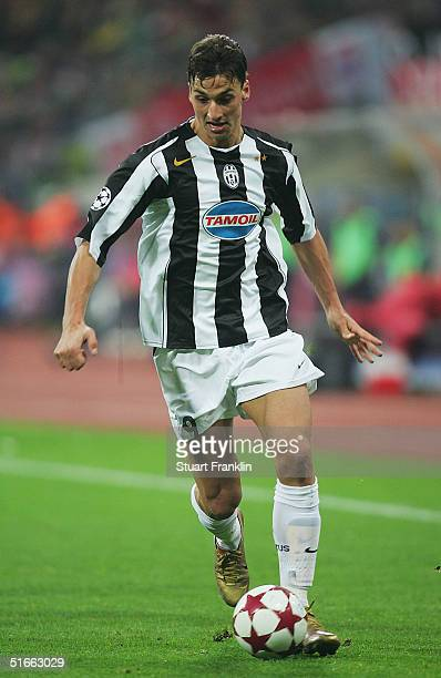 Zlatan Ibrahimovic of Juventus during The UEFA Champions League group C match between FC Bayern Munich and Juventus at The Olympic Stadium on...