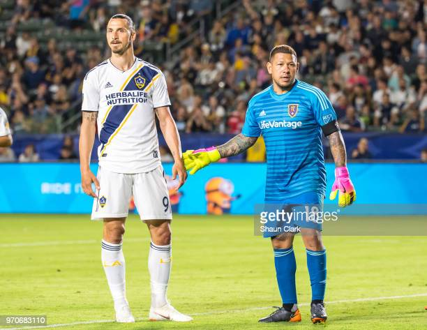 Zlatan Ibrahimovic of Los Angeles Galaxy and Nick Rimando of Real Salt Lake during the Los Angeles Galaxy's MLS match against FC Dallas at the...