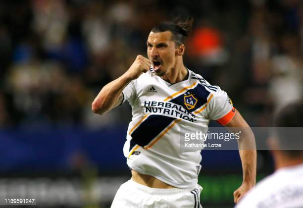 Zlatan Ibrahimovic of Los Angeles Galaxy celebrates a goal during the second half against the Portland Timbers at Dignity Health Sports Park on March...