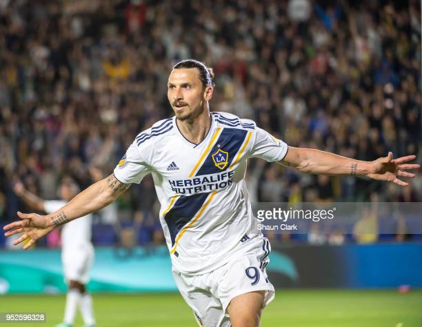 Zlatan Ibrahimovic of Los Angeles Galaxy celebrates a goal that was disallowed during the Los Angeles Galaxy's MLS match against New York Red Bulls...