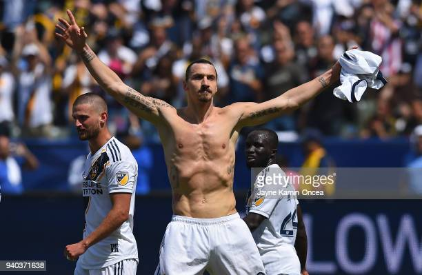 Zlatan Ibrahimovic of Los Angeles Galaxy celebrates after scoring a goal in the second half of the game against the Los Angeles FC at StubHub Center...