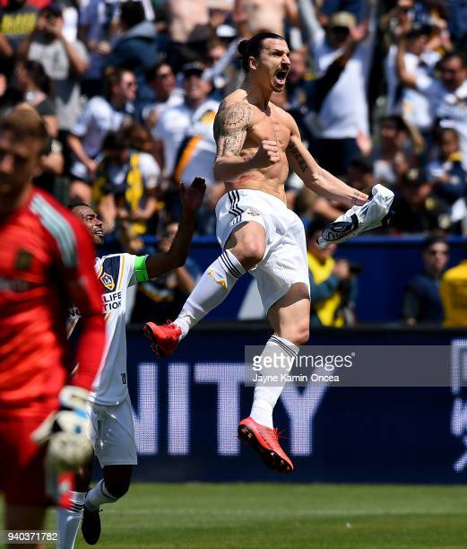 Zlatan Ibrahimovic of Los Angeles Galaxy celebrates after scoring a goal in the second half of the game against the Los Angeles FC as at StubHub...