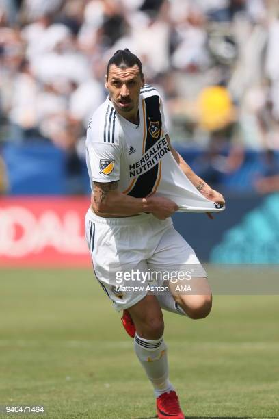 Zlatan Ibrahimovic of Los Angeles Galaxy celebrates after scoring a goal to make it 33 during the MLS match between Los Angeles FC and Los Angeles...