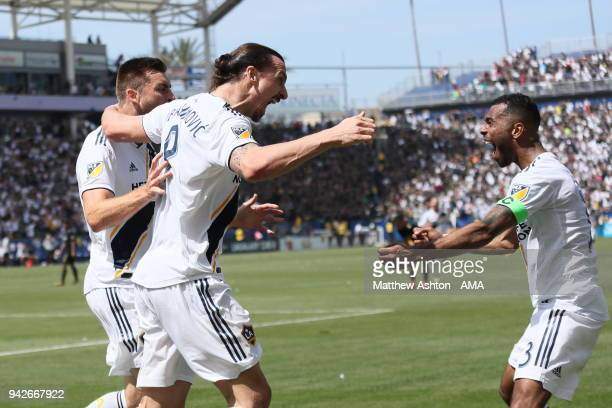 Zlatan Ibrahimovic of Los Angeles Galaxy celebrates after scoring a goal to make it 4-3 during the MLS match between Los Angeles FC and Los Angeles...