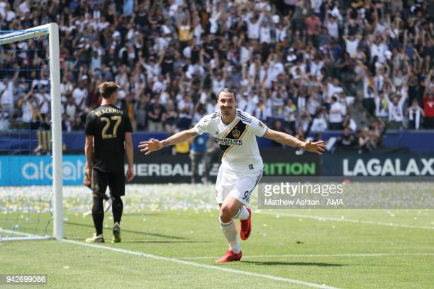 Zlatan Ibrahimovic of Los Angeles Galaxy celebrates after scoring a goal to make it 43 during the MLS match between Los Angeles FC and Los Angeles...