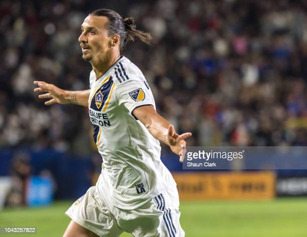 Zlatan Ibrahimovic of Los Angeles Galaxy celebrates his 2nd goal during the Los Angeles Galaxy's MLS match against Vancouver Whitecaps at the StubHub...