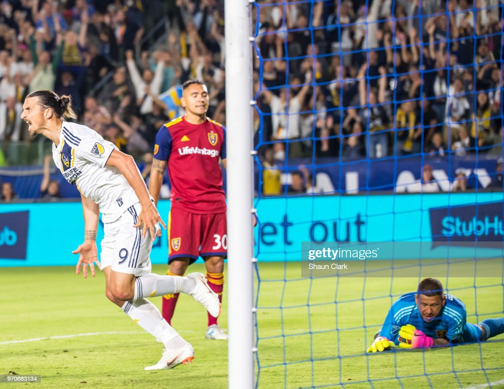Zlatan Ibrahimovic #9 of Los Angeles Galaxy celebrates his first goal of the night during the Los Angeles Galaxy's MLS match against FC Dallas at the StubHub Center on June 9, 2018 in Carson, California. Los Angeles Galaxy won the match 3-0