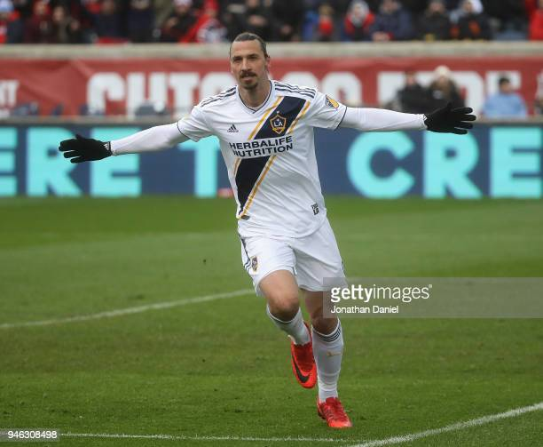 Zlatan Ibrahimovic of Los Angeles Galaxy celebrates his first half goal against the Chicago Fire at Toyota Park on April 14 2018 in Bridgeview...