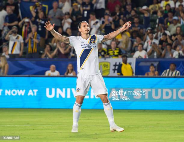 Zlatan Ibrahimovic of Los Angeles Galaxy celebrates his goal during the Los Angeles Galaxy's MLS match against Columbus Crew at the StubHub Center on...