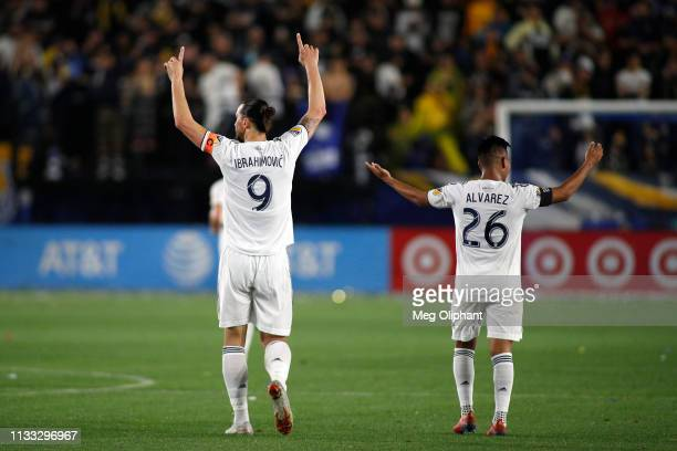 Zlatan Ibrahimovic of Los Angeles Galaxy celebrates his goal in the second half against the Chicago Fire at Dignity Health Sports Park on March 02...