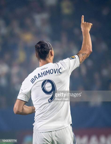 Zlatan Ibrahimovic of Los Angeles Galaxy celebrates his penalty kick goal during the Los Angeles Galaxy's MLS match against Vancouver Whitecaps at...