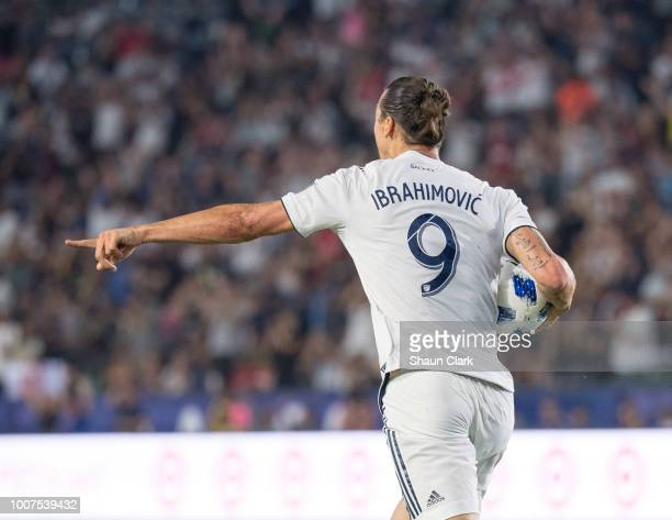 Zlatan Ibrahimovic of Los Angeles Galaxy celebrates his second goal during the Los Angeles Galaxy's MLS match against Orlando City SC at the StubHub...