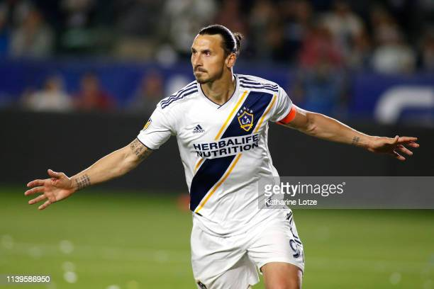 Zlatan Ibrahimovic of Los Angeles Galaxy celebrates his second goal against the Portland Timbers during the second half at Dignity Health Sports Park...