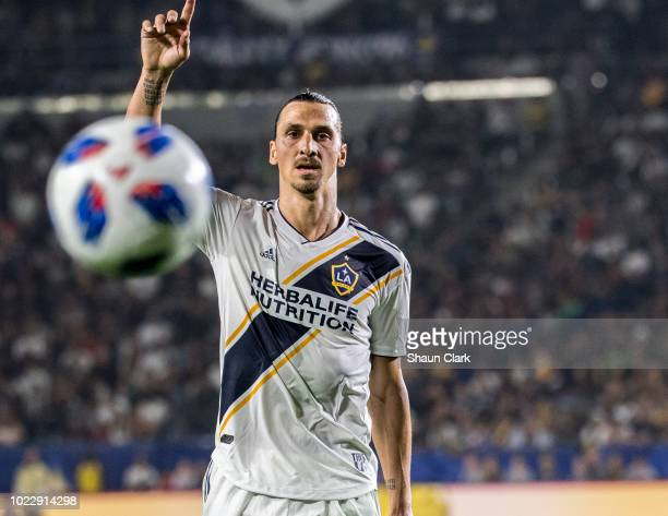 Zlatan Ibrahimovic of Los Angeles Galaxy during the Los Angeles Galaxy's MLS match against Los Angeles FC at the StubHub Center on August 24 2018 in...