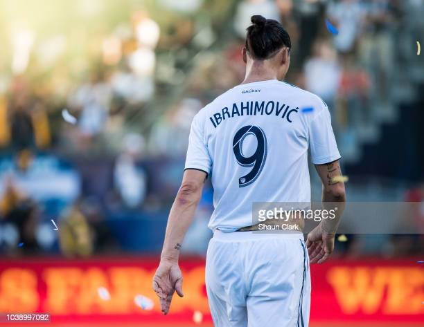 Zlatan Ibrahimovic of Los Angeles Galaxy during the Los Angeles Galaxy's MLS match against Seattle Sounders at the StubHub Center on September 23...