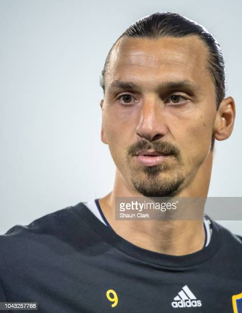 Zlatan Ibrahimovic of Los Angeles Galaxy during the Los Angeles Galaxy's MLS match against Vancouver Whitecaps at the StubHub Center on September 29...