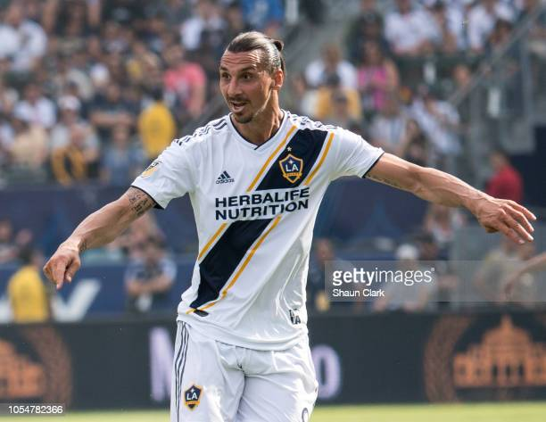 Zlatan Ibrahimovic of Los Angeles Galaxy during the Los Angeles Galaxy's MLS match against Houston Dynamo at the StubHub Center on October 28 2018 in...