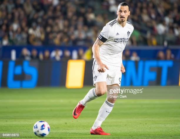 Zlatan Ibrahimovic of Los Angeles Galaxy during the Los Angeles Galaxy's MLS match against Atlanta United FC at the StubHub Center on April 21 2018...