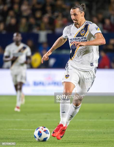 Zlatan Ibrahimovic of Los Angeles Galaxy during the Los Angeles Galaxy's MLS match against New York Red Bulls at the StubHub Center on April 28 2018...