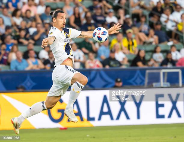 Zlatan Ibrahimovic of Los Angeles Galaxy during the Los Angeles Galaxy's MLS match against Columbus Crew at the StubHub Center on July 7 2018 in...