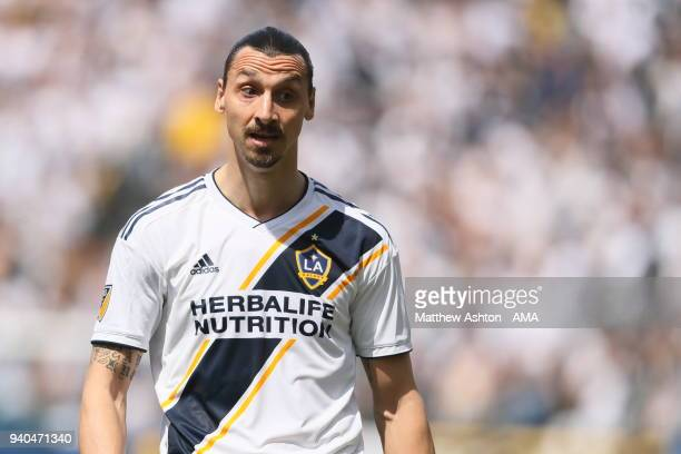 Zlatan Ibrahimovic of Los Angeles Galaxy during the MLS match between Los Angeles FC and Los Angeles Galaxy at StubHub Center on March 31 2018 in...