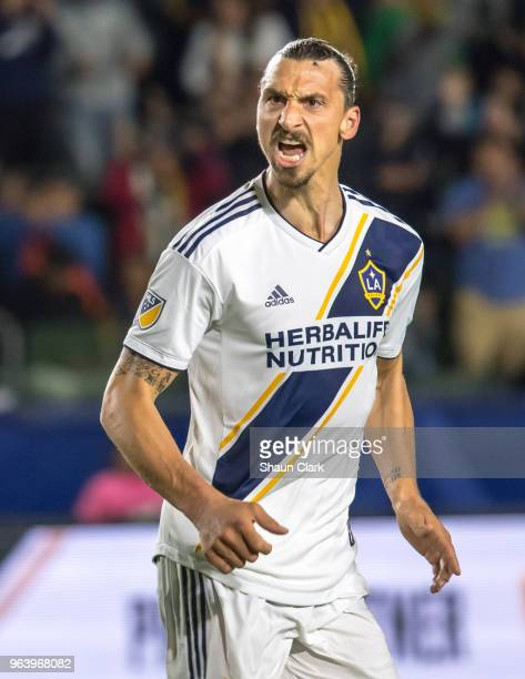 Zlatan Ibrahimovic of Los Angeles Galaxy encourages his team during the Los Angeles Galaxy's MLS match against FC Dallas at the StubHub Center on May...