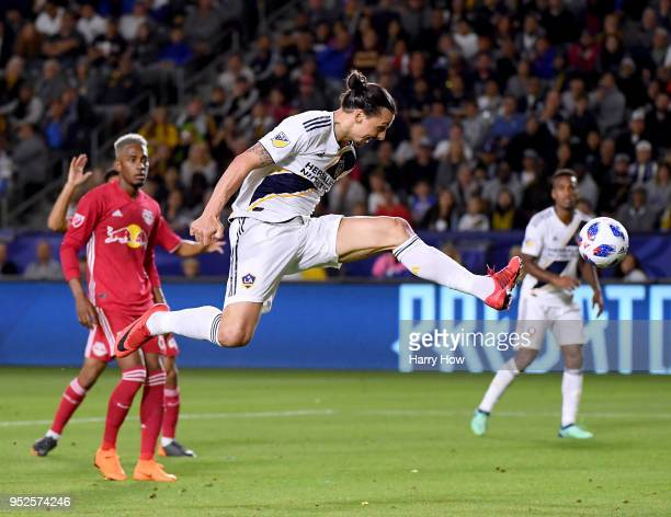 Zlatan Ibrahimovic of Los Angeles Galaxy is called offside as he scores during a 32 loss to the New York Red Bulls at StubHub Center on April 28 2018...