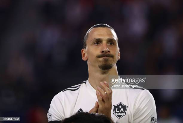 Zlatan Ibrahimovic of Los Angeles Galaxy lines up at midfield prior to the MLS match against the Atlanta United at StubHub Center on April 21 2018 in...