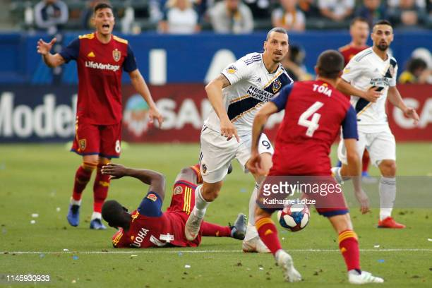 Zlatan Ibrahimovic of Los Angeles Galaxy looks down the field after fouling Nedum Onuoha of Real Salt Lake during a game at Dignity Health Sports...