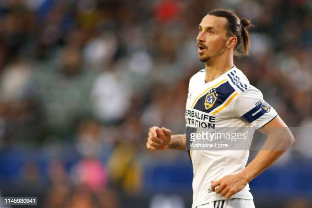 Zlatan Ibrahimovic of Los Angeles Galaxy looks on during a game against Real Salt Lake at Dignity Health Sports Park on April 28 2019 in Carson...