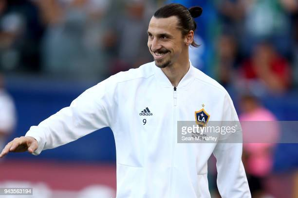 Zlatan Ibrahimovic of Los Angeles Galaxy looks on prior to a game against the Sporting Kansas City at StubHub Center on April 8 2018 in Carson...