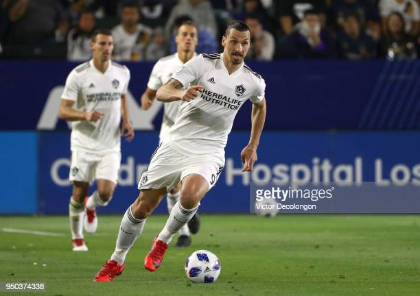 Zlatan Ibrahimovic of Los Angeles Galaxy paces the ball on the attack during the second half of the MLS match against the Atlanta United at StubHub...