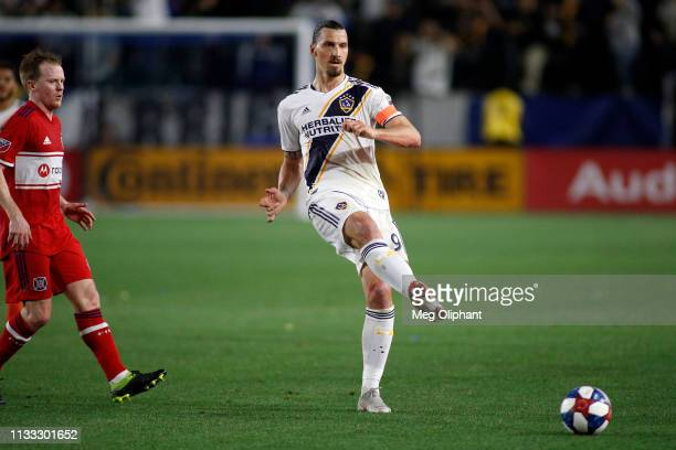 Zlatan Ibrahimovic of Los Angeles Galaxy passes during the game against the Chicago Fire at Dignity Health Sports Park on March 02 2019 in Carson...