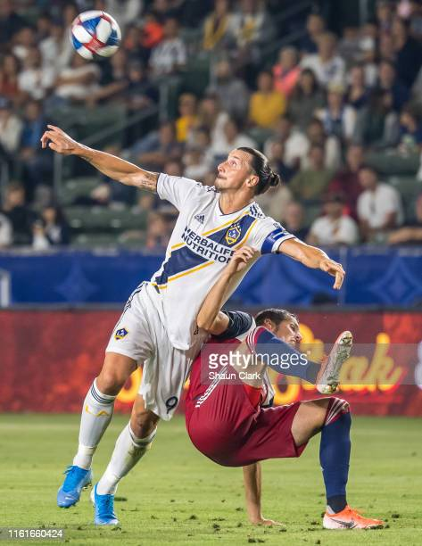 Zlatan Ibrahimovic of Los Angeles Galaxy passes the ball during the Los Angeles Galaxy's MLS match against FC Dallas at the Dignity Health Sports...