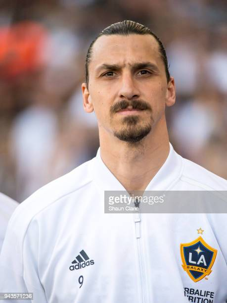 Zlatan Ibrahimovic of Los Angeles Galaxy prior to the Los Angeles Galaxy's MLS match against Sporting Kansas City at the StubHub Center on April 8...