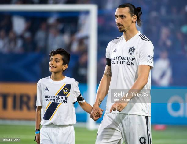 Zlatan Ibrahimovic of Los Angeles Galaxy prior to the Los Angeles Galaxy's MLS match against Atlanta United FC at the StubHub Center on April 21 2018...