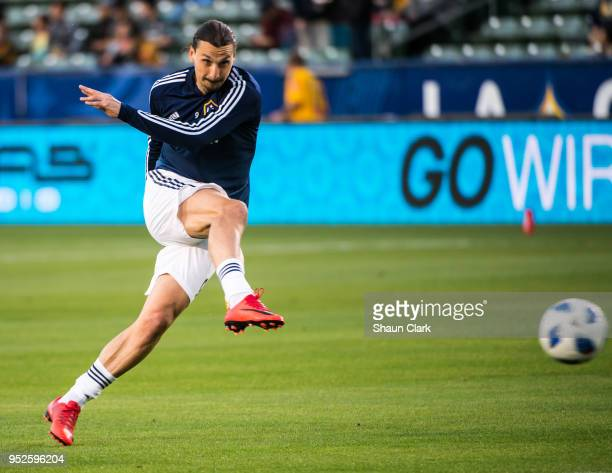 Zlatan Ibrahimovic of Los Angeles Galaxy prior to the Los Angeles Galaxy's MLS match against New York Red Bulls at the StubHub Center on April 28...