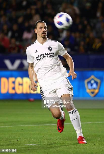 Zlatan Ibrahimovic of Los Angeles Galaxy pursues the ball during the second half of the MLS match against the Atlanta United at StubHub Center on...