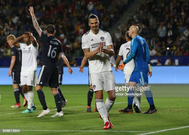Zlatan Ibrahimovic of Los Angeles Galaxy reacts after a Galaxy direct free kick in the second half during the MLS match against the Atlanta United at...