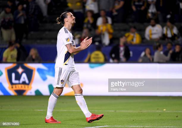 Zlatan Ibrahimovic of Los Angeles Galaxy reacts as he leaves the field after a 32 New York Red Bulls win at StubHub Center on April 28 2018 in Carson...