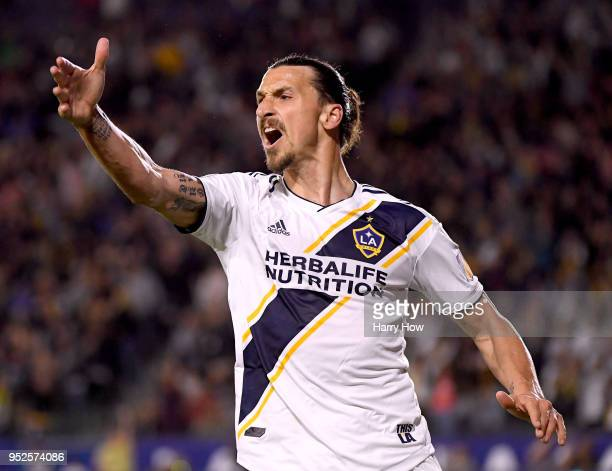 Zlatan Ibrahimovic of Los Angeles Galaxy reacts as his goal is called off after an offside during the second half of a 32 Red Bulls win at StubHub...