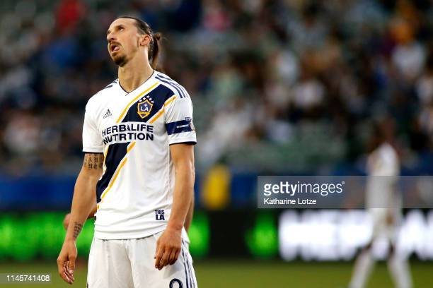Zlatan Ibrahimovic of Los Angeles Galaxy rolls his eyes during the second half a game against the Real Salt Lake at Dignity Health Sports Park on...